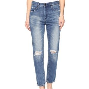 BlankNYC high rise tapered leg ripped jeans